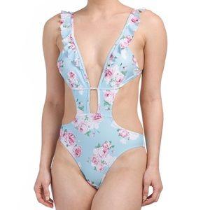 Cikada Cutout floral one piece swimsuit